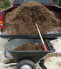 Picture of pick up loaded with organic shredded wood mulch